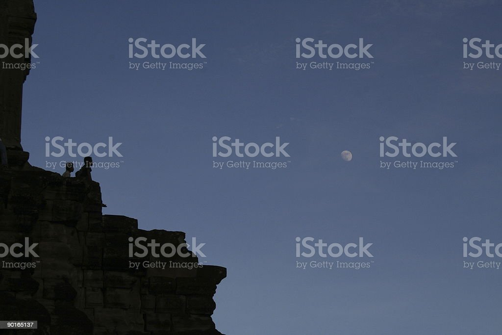 LOOK the MOON!!! stock photo