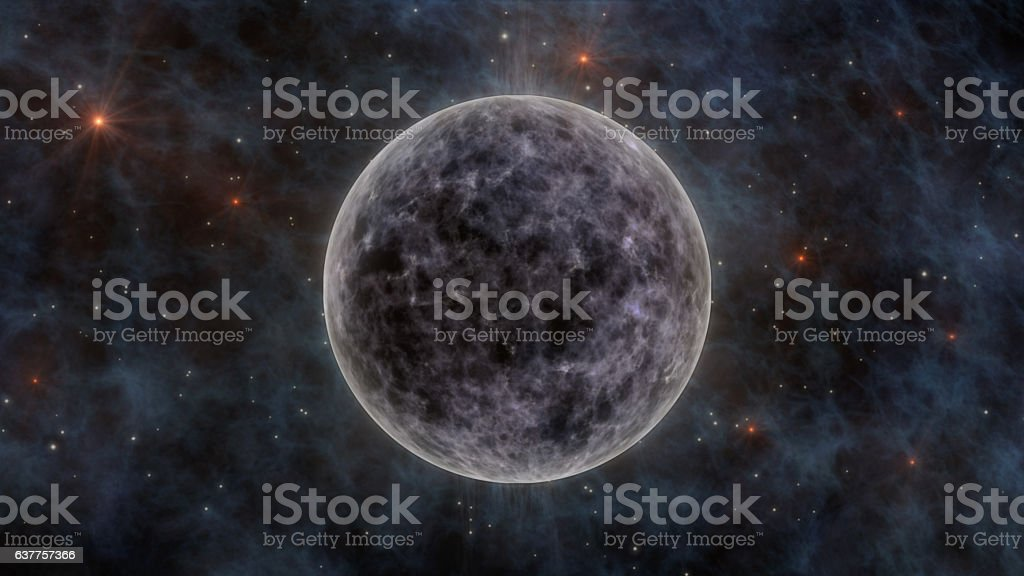The Moon, Stars, Stardust and Planets In Space 3D Rendering stock photo