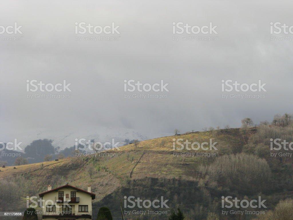 The morning at Igantzi in autumn stock photo