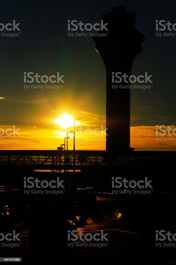 The Morning of Chicago O'Hare International Airport stock photo