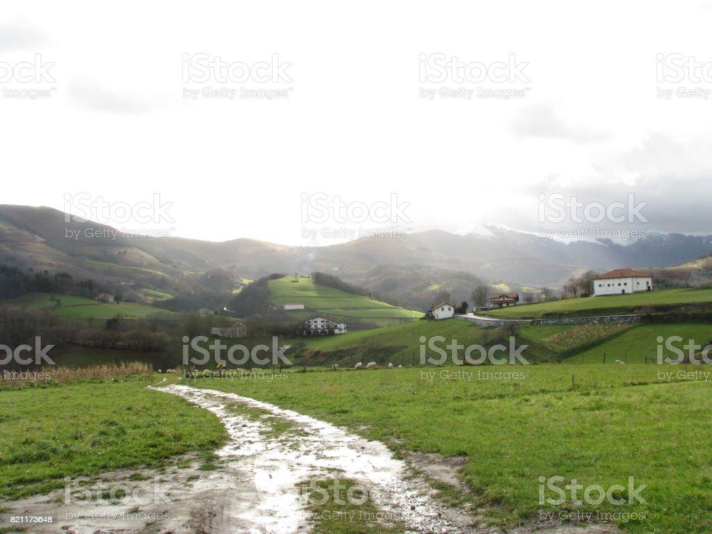 The morning path at Igantzi stock photo
