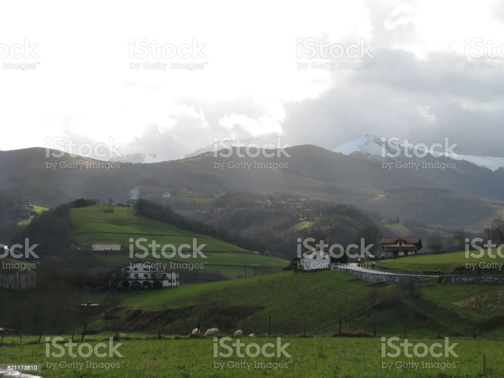The morning ray at Igantzi and shadows stock photo