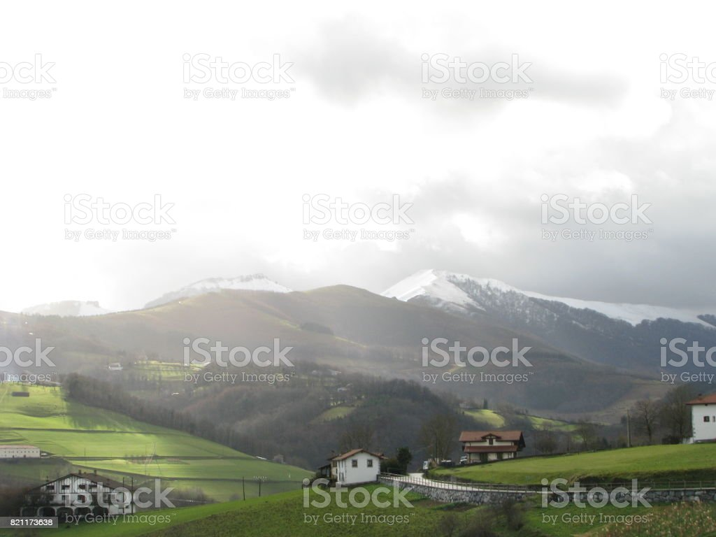 The morning ray at Igantzi in the valley stock photo