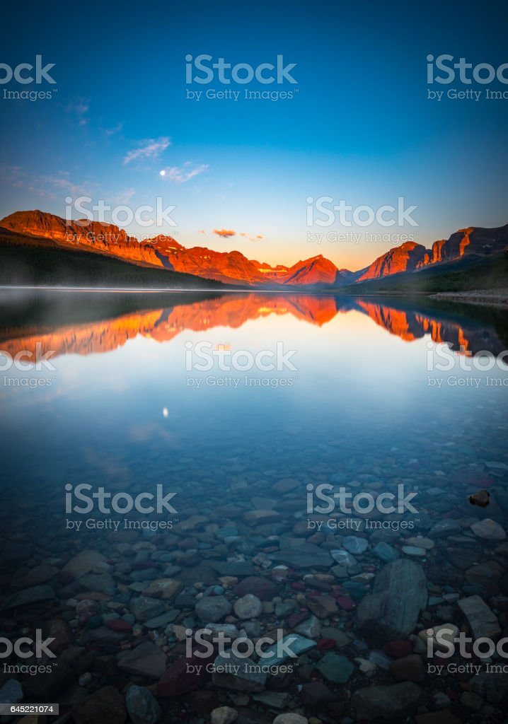 The Morning Tranquility with Full Moon stock photo
