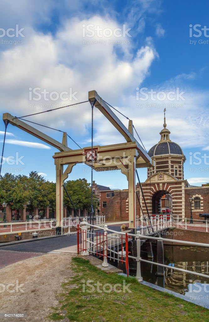 The Morspoort is the western gate of Leiden, South Holland, Netherlands stock photo
