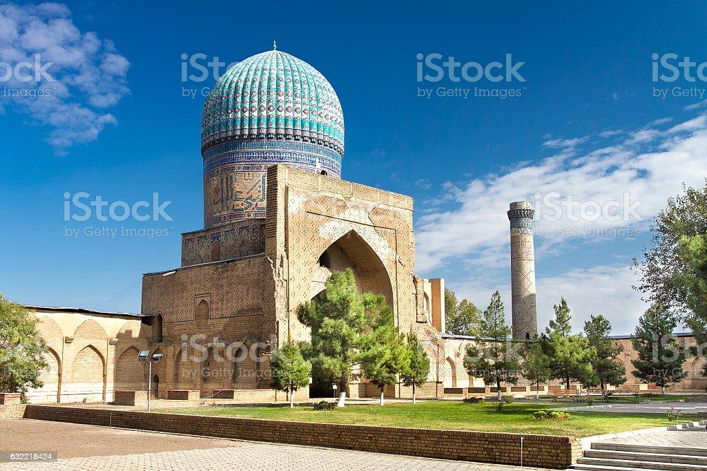 The mosque in Samarkand, Uzbekistan stock photo