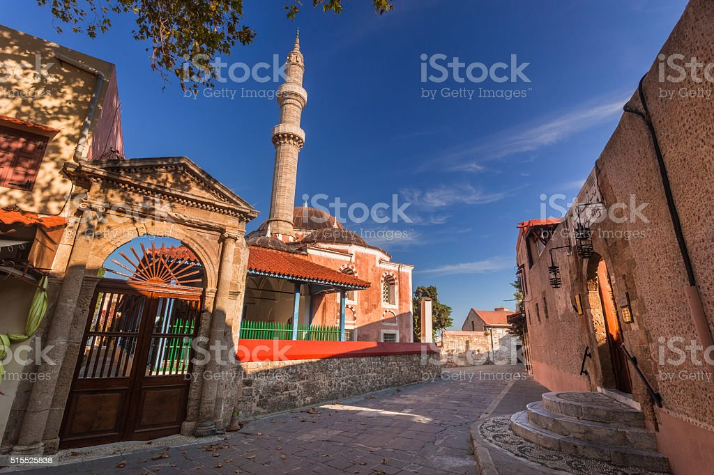 The Mosque of Suleiman, old town, Rhodes island. stock photo