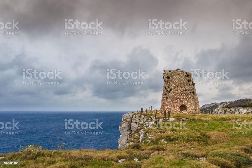 The most beautiful coasts of Italy: Minervino Watchtower, Salento (Apulia). stock photo