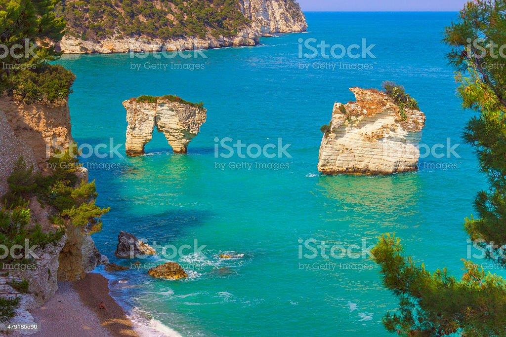 The most beautiful coasts of Italy:Baia dei Mergoli beach (Apulia), stock photo