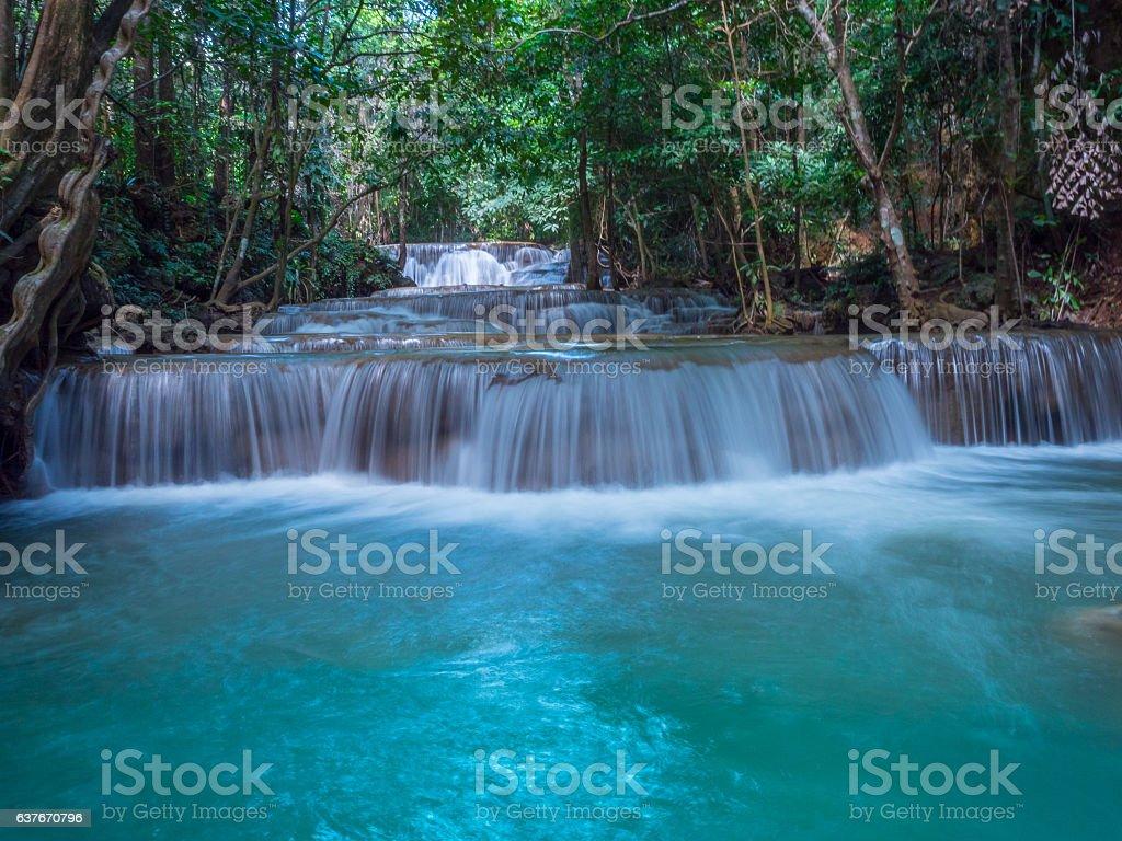 The most beautiful Huai Mae Khamin waterfall, Khanchanaburi stock photo