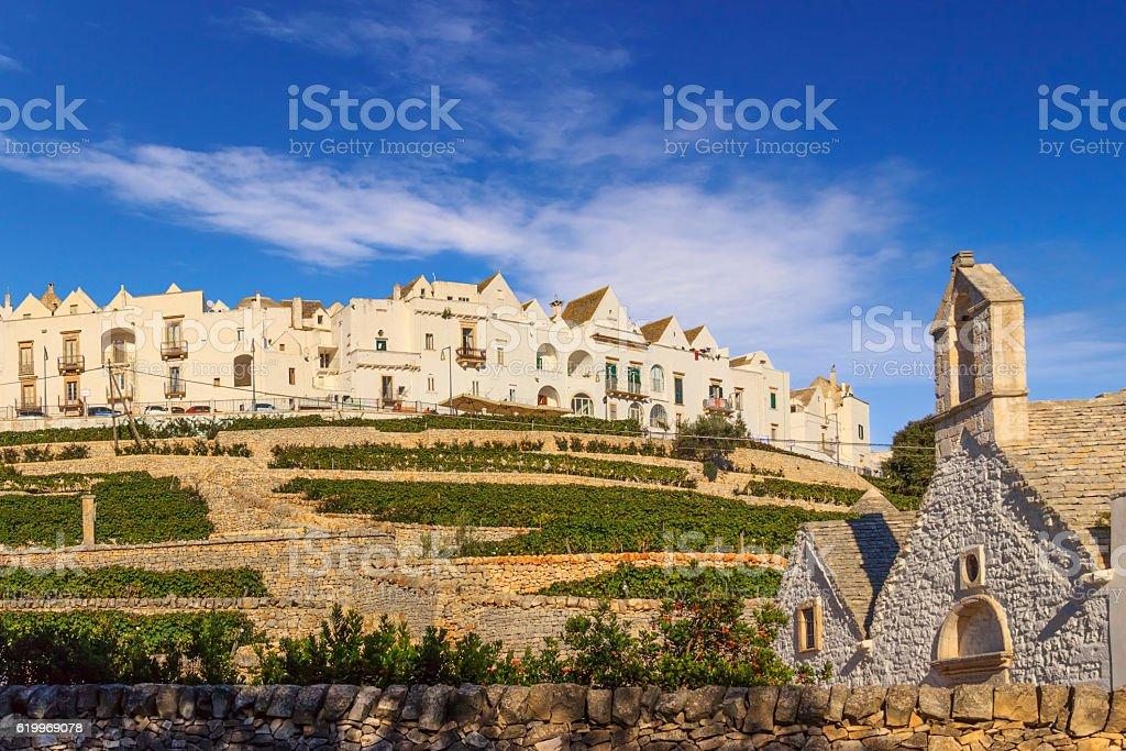 The most beautifull old towns in Italy: Locorotondo skyline, Apulia. stock photo