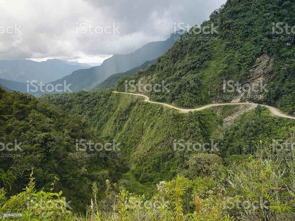 The most dangerous road in the world, North Yungas, Bolivia. stock photo