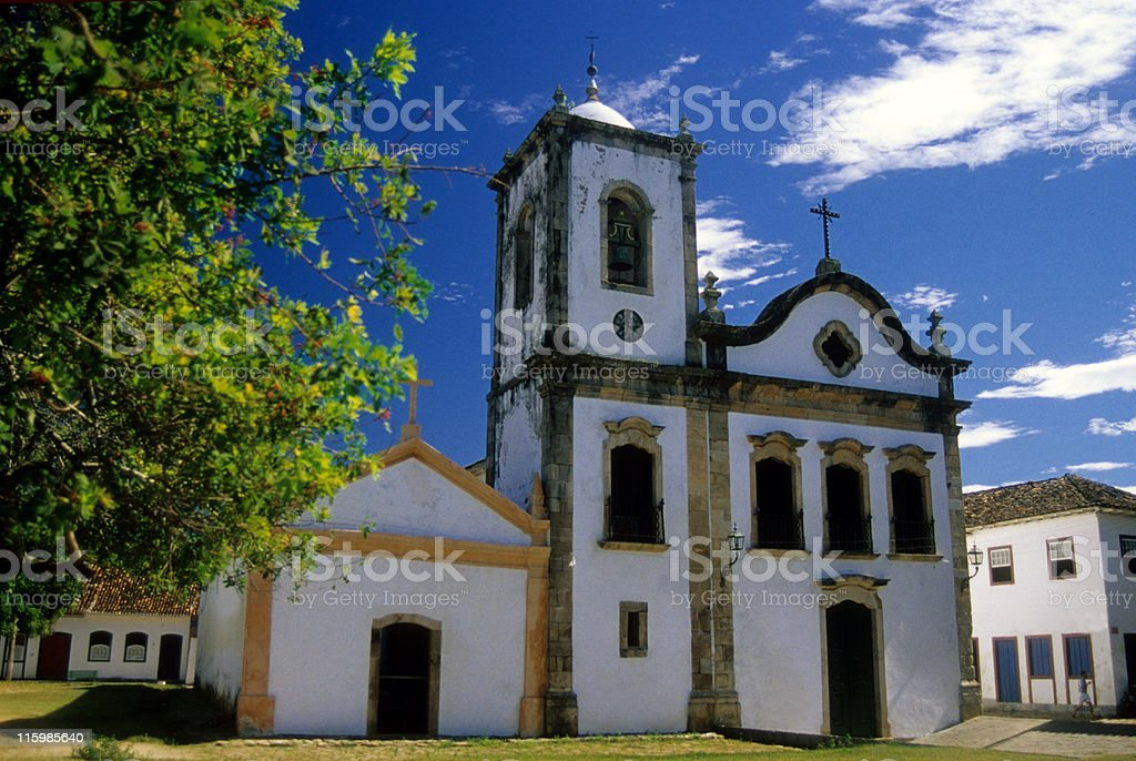 The most famous church in Paraty city stock photo