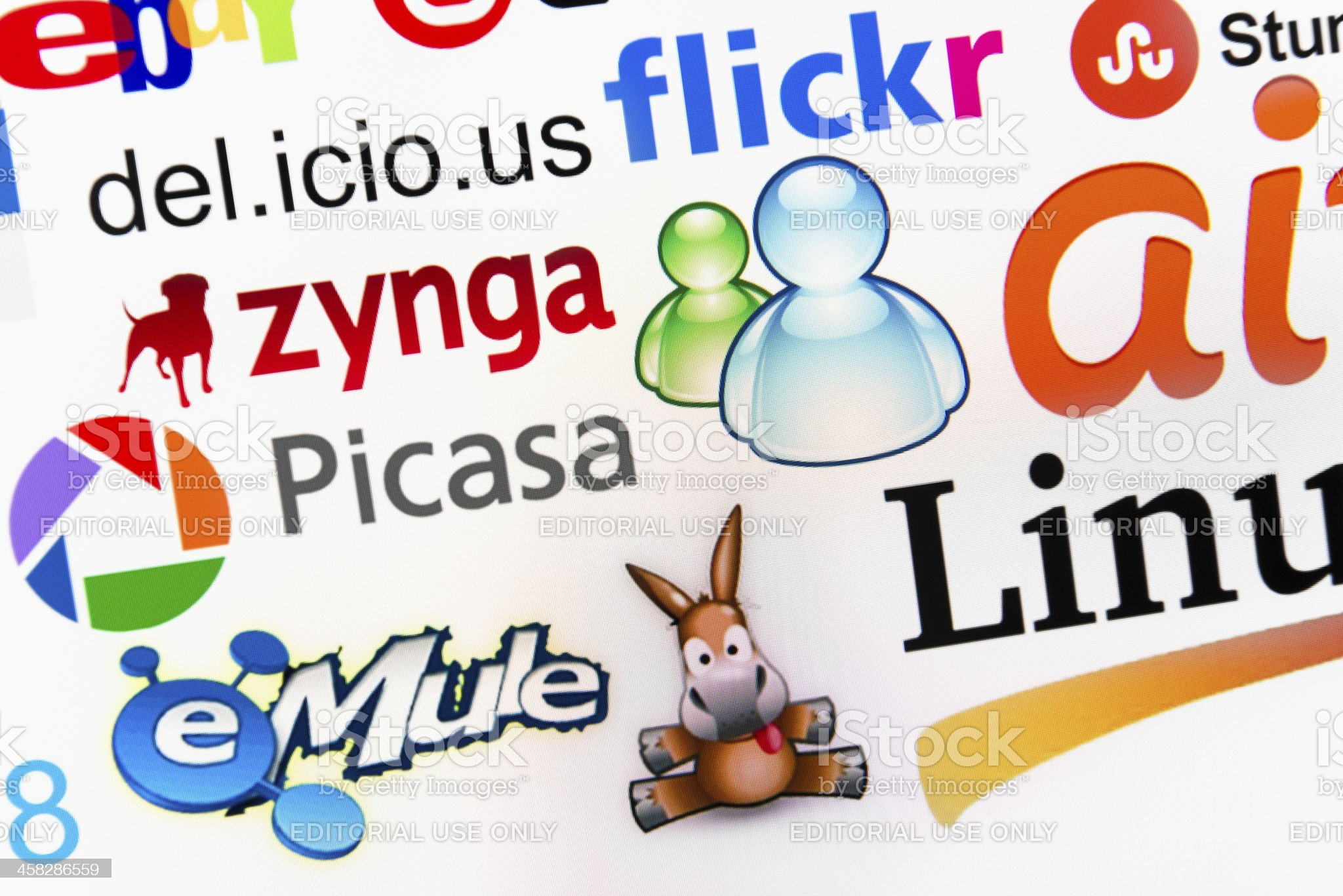 The most famous multimedia brands logotype royalty-free stock photo