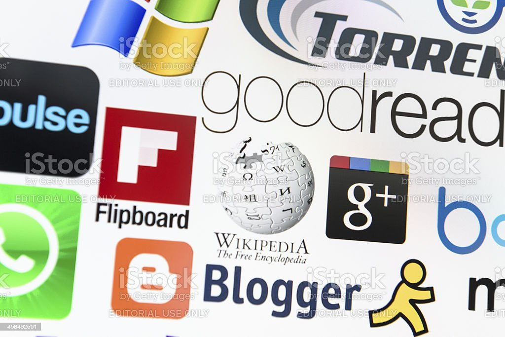 The most famous multimedia brands logotype stock photo
