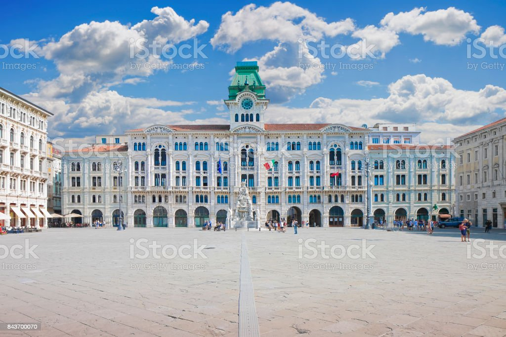 The most important square in Trieste called 'Piazza Unità d'Italia' (it means 'Square of the Unity of Italy') - (Europe - italy -Trieste) - People are not recognizzable. stock photo