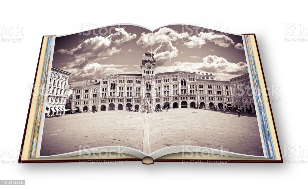 The most important square in Trieste city called 'Piazza Unità d'Italia' (it means 'Square of the Unity of Italy') - (italy) - People are not recognizzable.'n3D render of an opened photo book isolated on white. I'm the copyright owner of the images used i stock photo