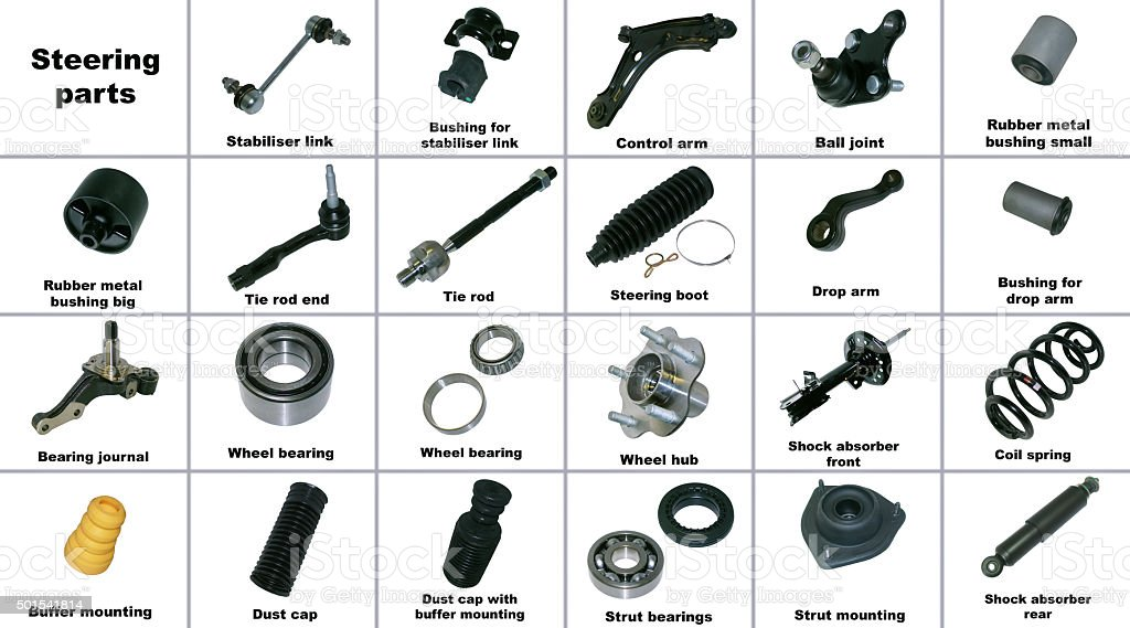 The most popular spare parts of the chassis car stock photo