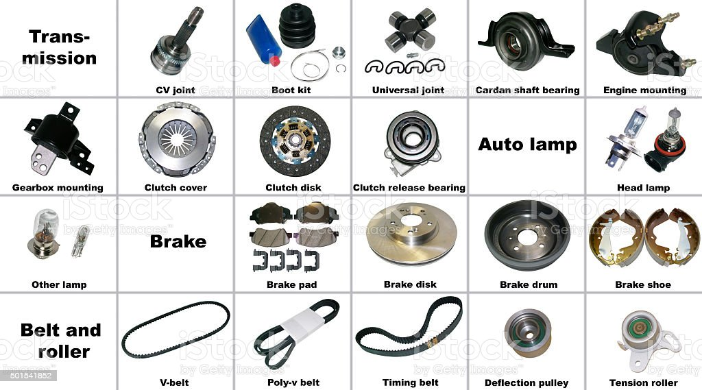 The most popular spare parts of the transmission car stock photo