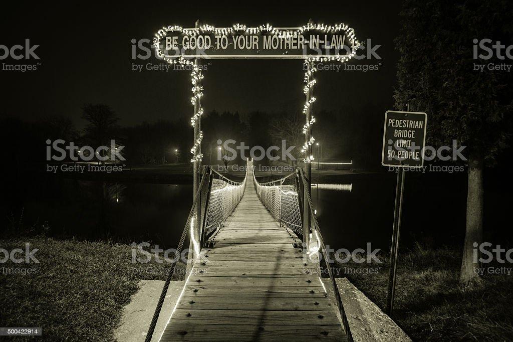 The Mother In Law Bridge In Croswell Michigan stock photo
