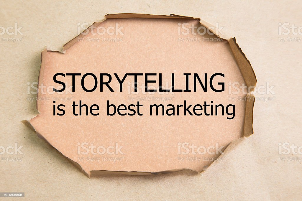 The motivational quote Storytelling is the best Marketing stock photo