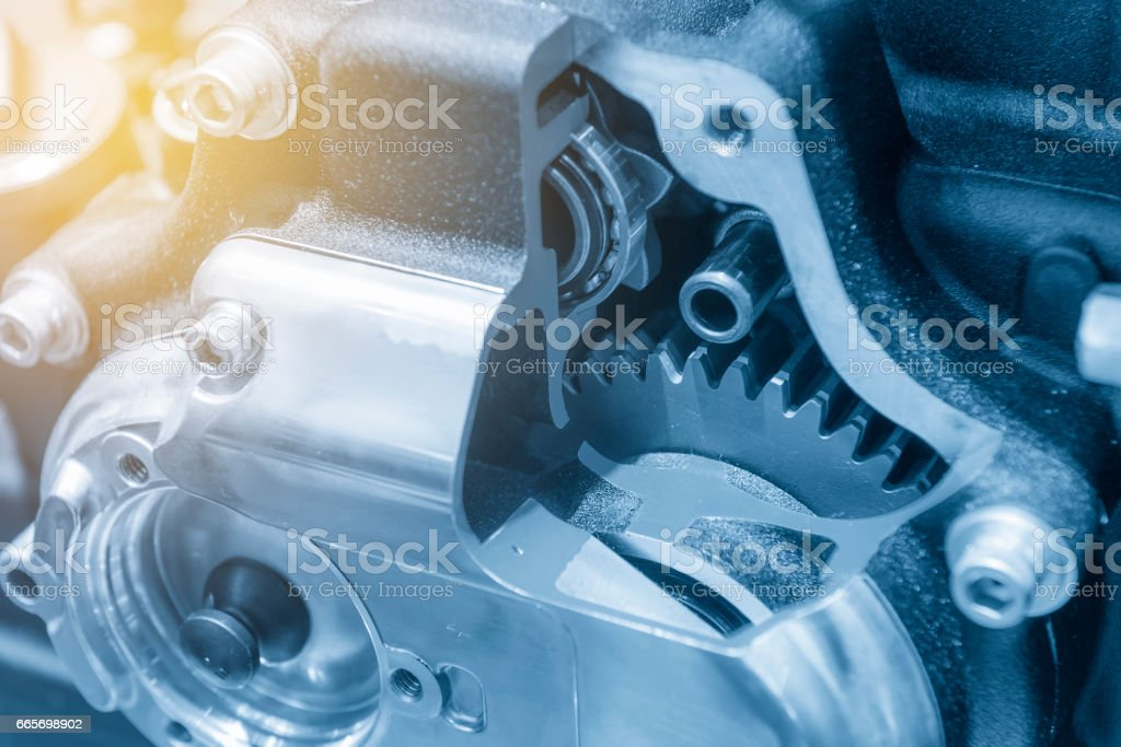 The motorcycle gear box in cross section stock photo
