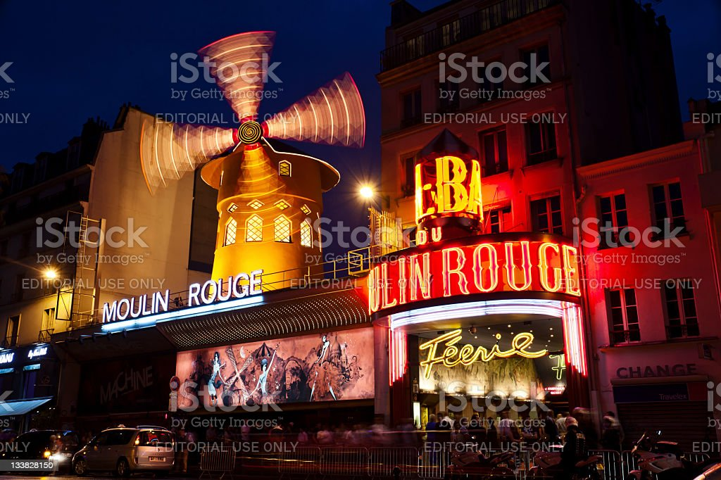 Le Moulin Rouge at dusk stock photo