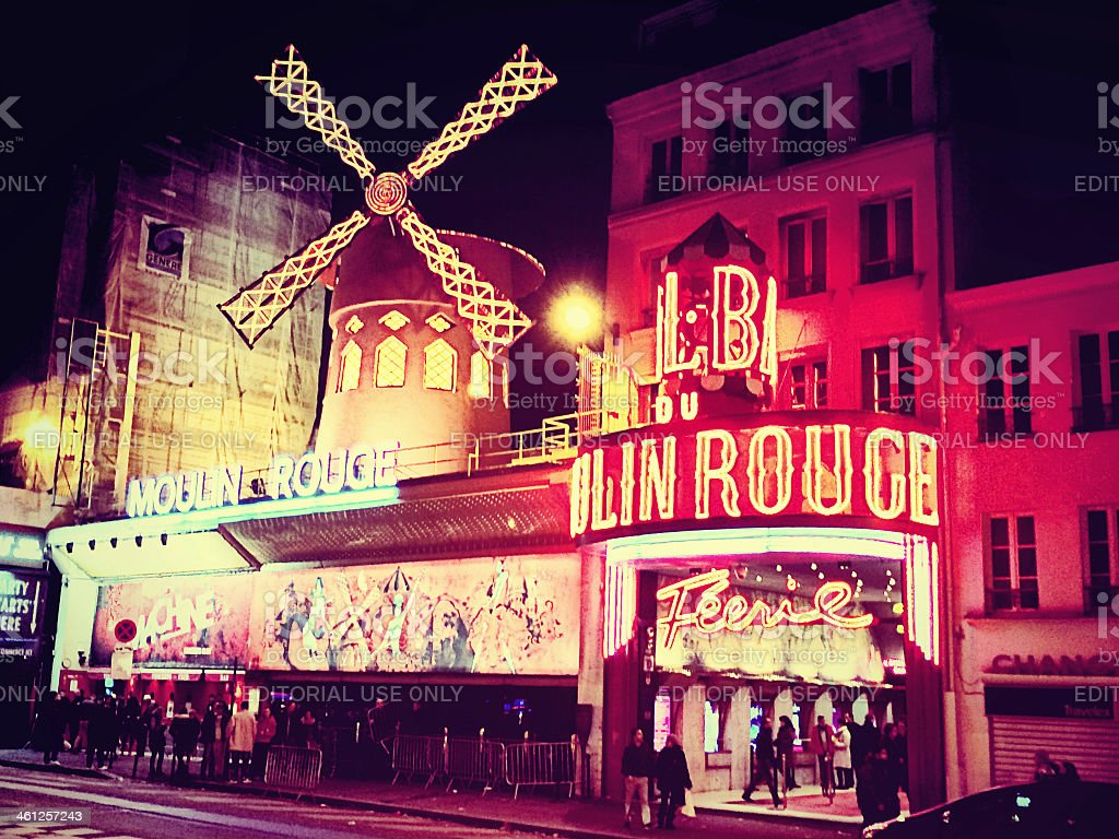 The Moulin Rouge at Night stock photo