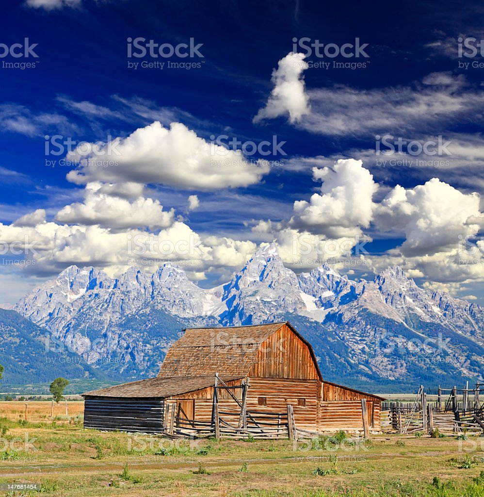 The Moulton Barn in Grand Teton National Park stock photo