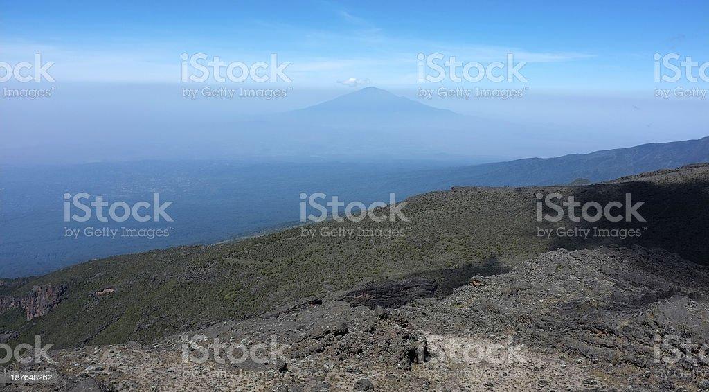 The Mount Meru from Kilimandjaro stock photo