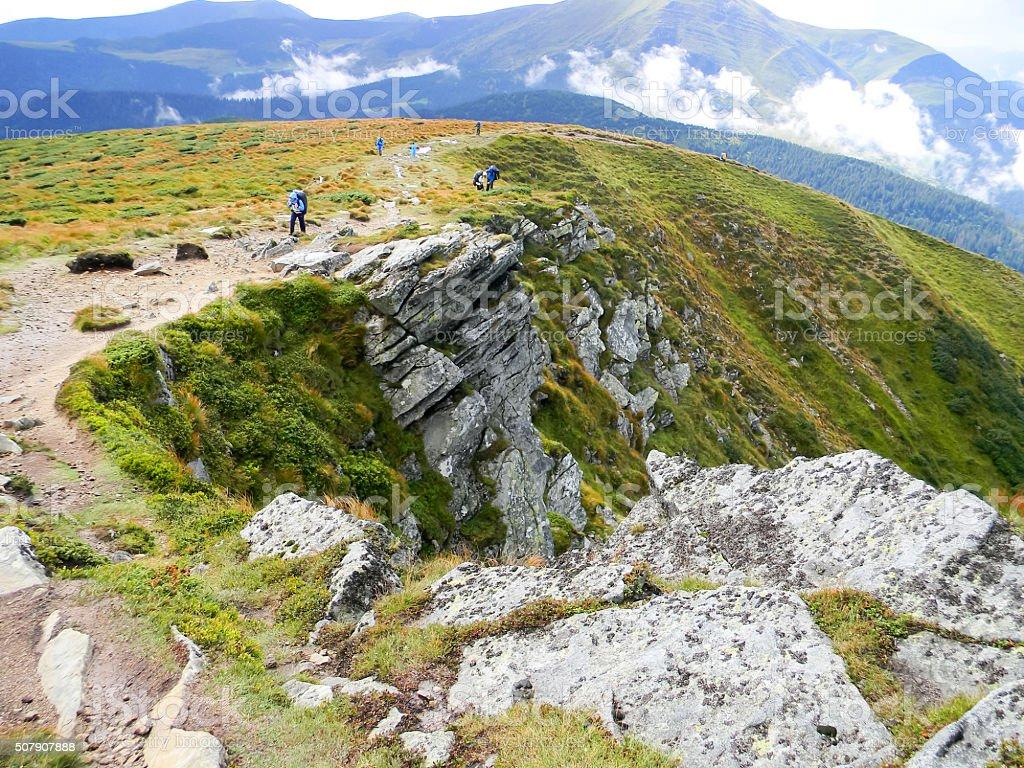La montaña está cubierto con hierba foto de stock libre de derechos