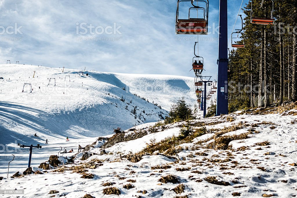 The mountain lift for skiers and snowboarders stock photo