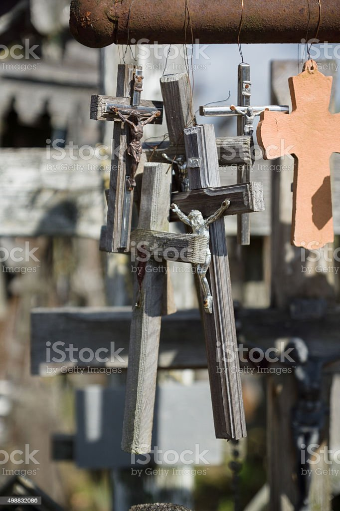 the mountain of crosses stock photo