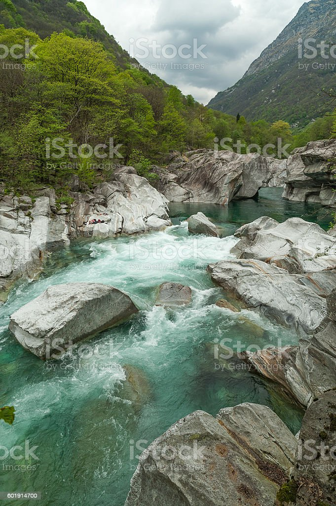 The mountain river Verzasca in the canton of Ticino, Switzerland stock photo