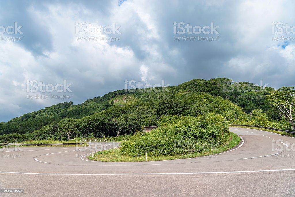The mountain road of Azuma mountain range in Fukushima, Japan stock photo