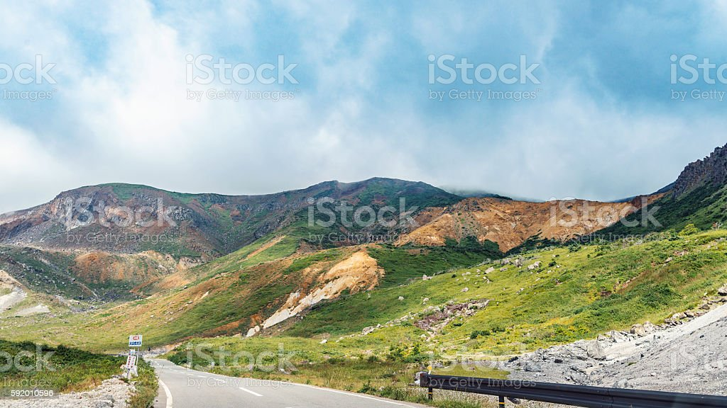The mountain road of Azuma mountain range in Fukushima, Japan stock photo
