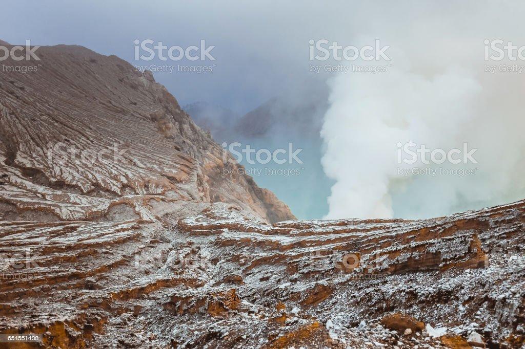 the mountain smoke landscape of Kawah Ijen Volcano,Indonesia stock photo