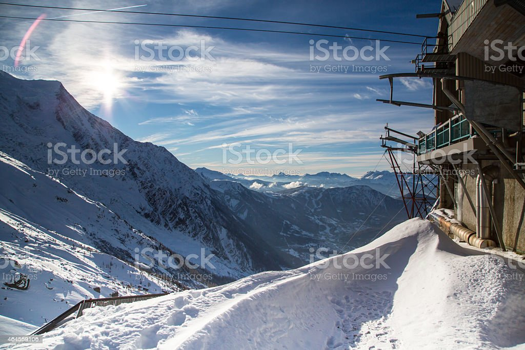 The mountain view from the station of Aiguille du Midi stock photo