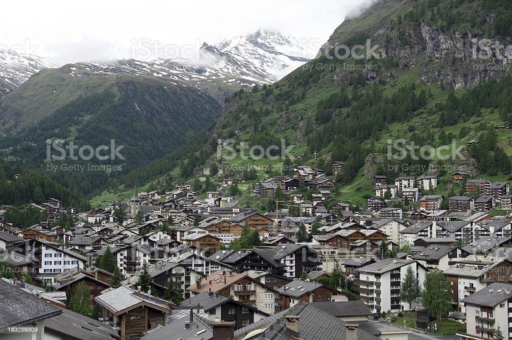 The mountain village of Zermatt stock photo