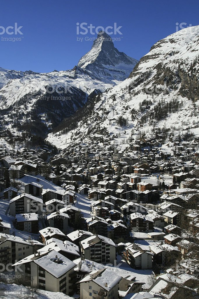 The mountain village of Zermatt stock photo