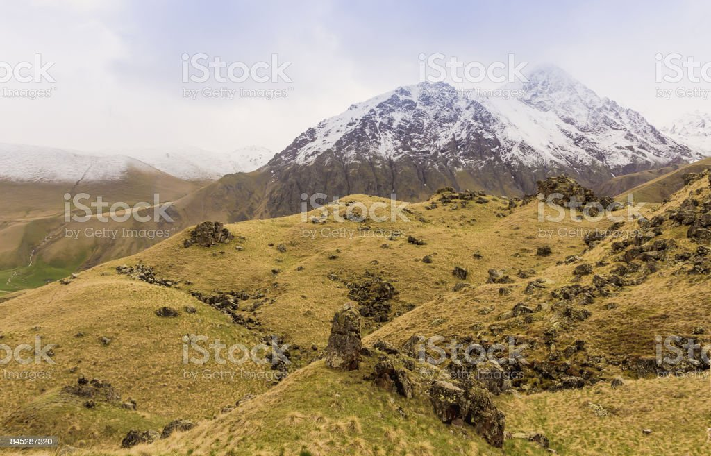 The mountains and hills in the natural boundary Dzhily-Su.North Caucasus stock photo