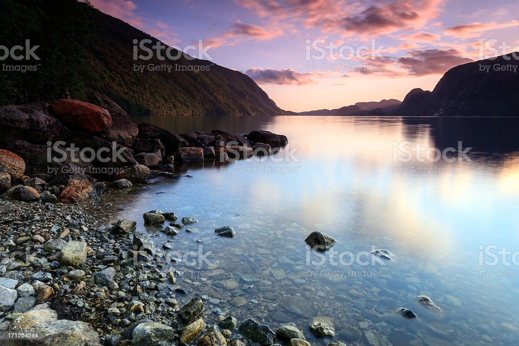 The mountains and lake of (No Suggestions) in Norway stock photo
