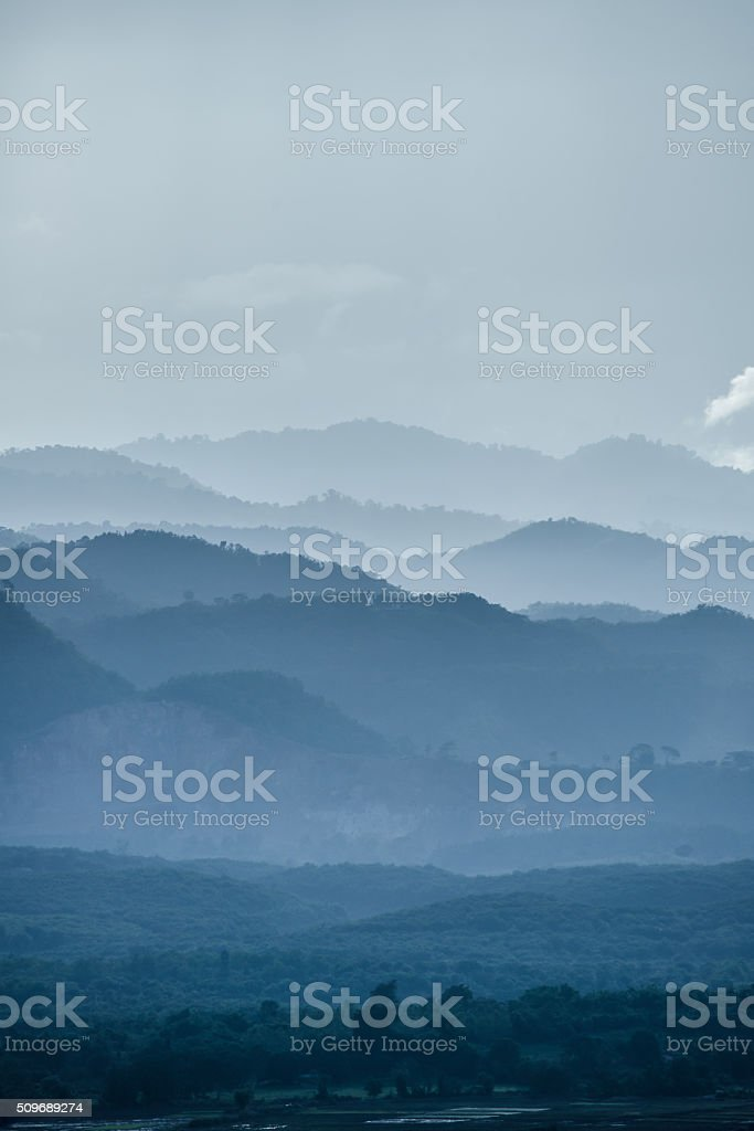The mountains layer in the mist. stock photo