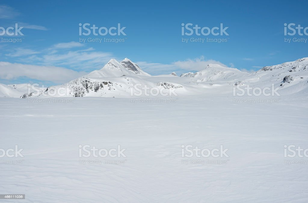 The mountains of Jotunheimen National Park in winter stock photo