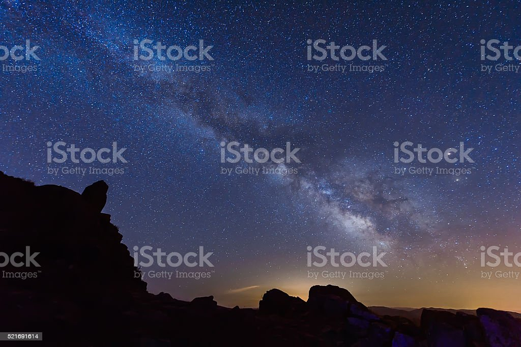 The mountains under the Milky way stock photo