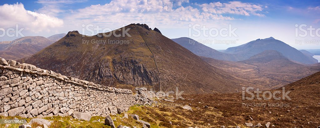 The Mourne Wall in the Mourne Mountains in Northern Ireland stock photo