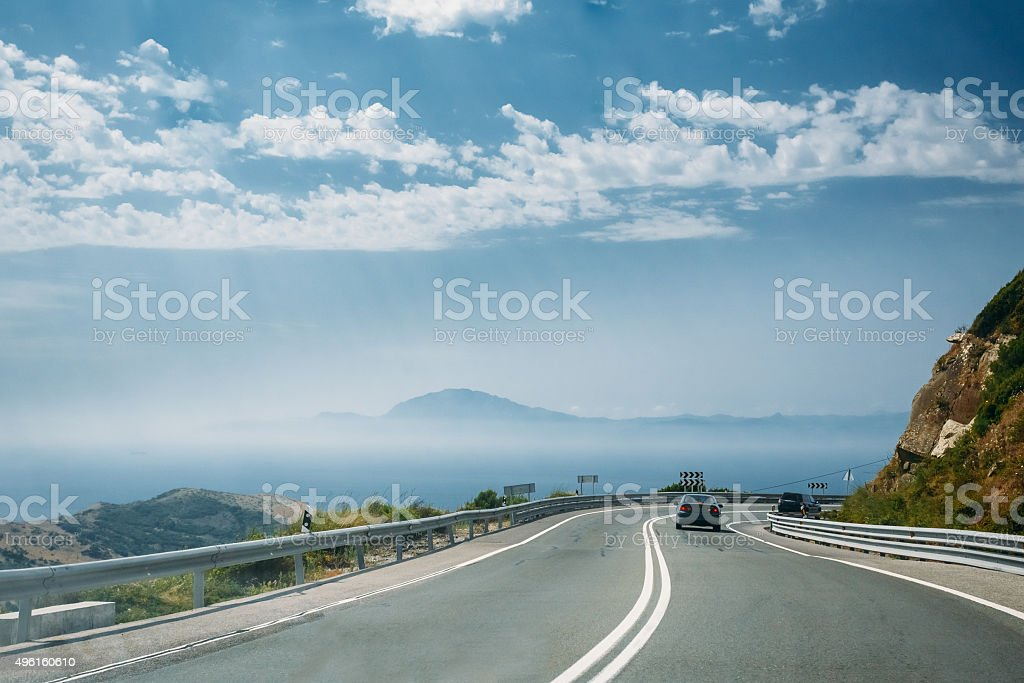 The movement of vehicles on freeway, motorway against the backgr stock photo