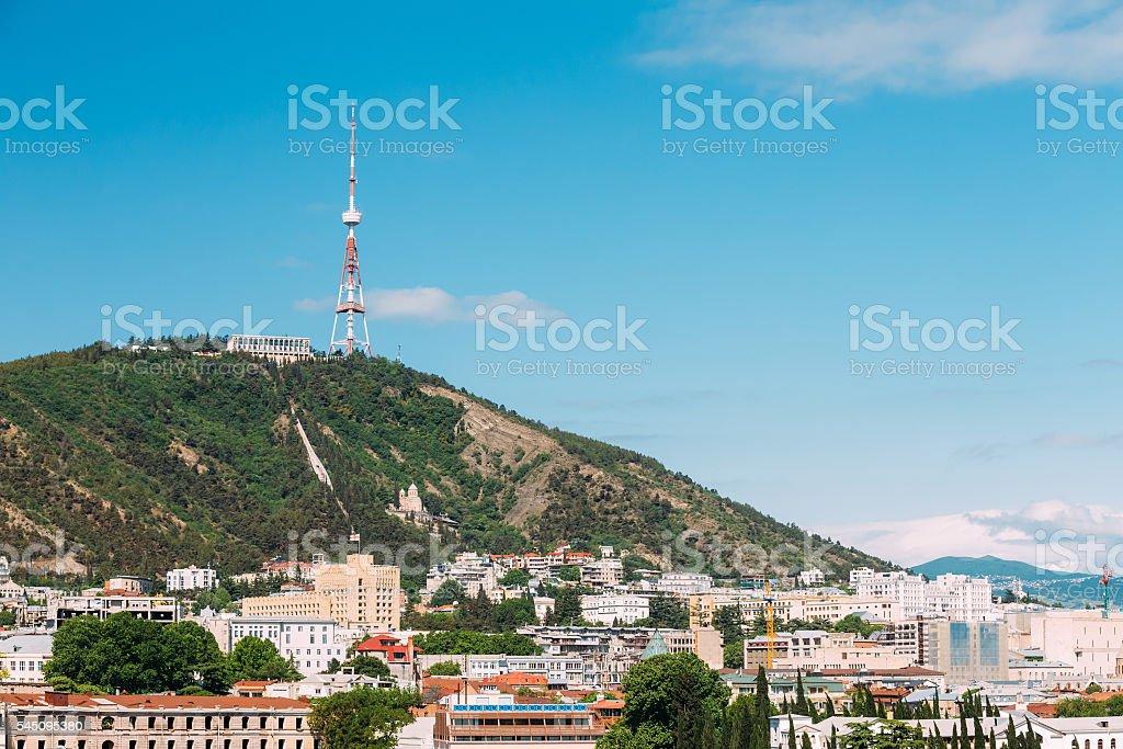 The Mtatsminda Mount Is Holy Mountain In Tbilisi, Georgia stock photo
