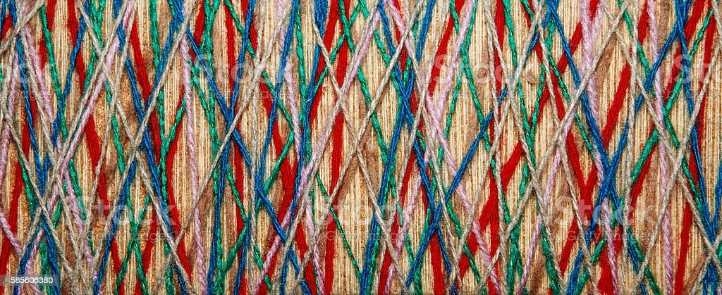 The multicolored yarn used for decor. stock photo