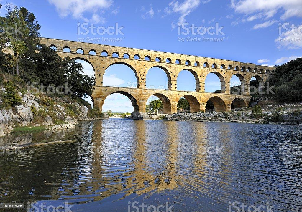 The multi-level Roman aqueduct Pont du Gard, France stock photo